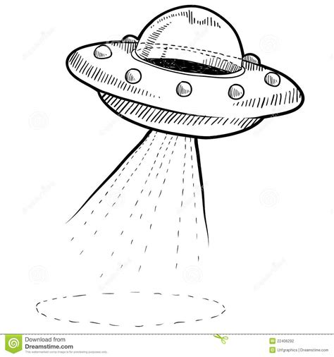 Retro UFO drawing stock vector. Illustration of doodle ...