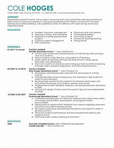 best assistant teacher resume example livecareer With education resume