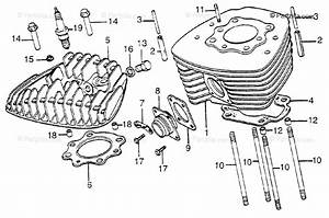 Honda Atv 1977 Oem Parts Diagram For Cylinder   Cylinder