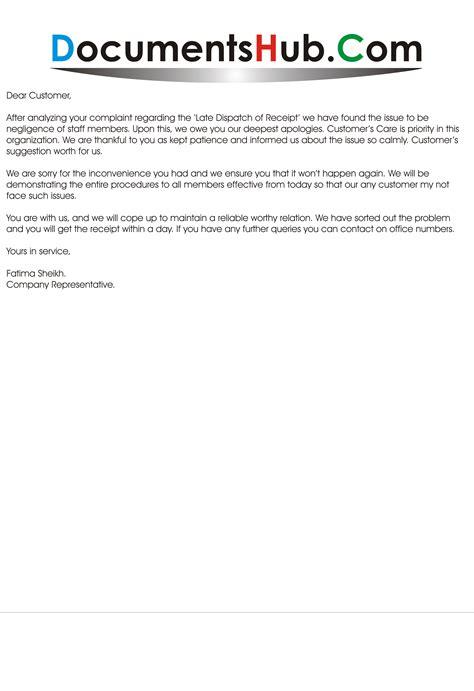 apology letter  customer documentshubcom