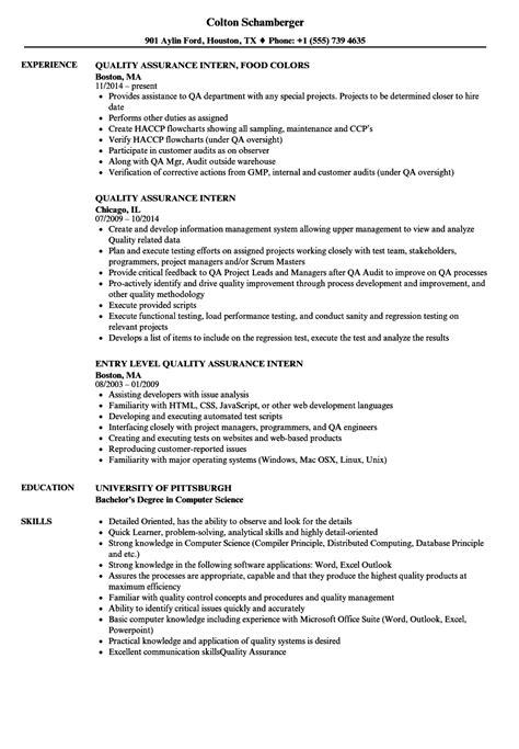 quality assurance intern resume sles velvet
