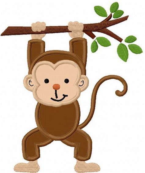 Monkey Applique by Monkey With Branch Applique Machine Embroidery Design No 0023