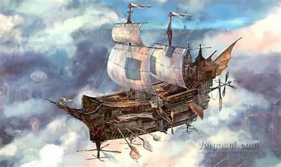 Flying Ship Boat Fantasy Steampunk Vargasni Commission