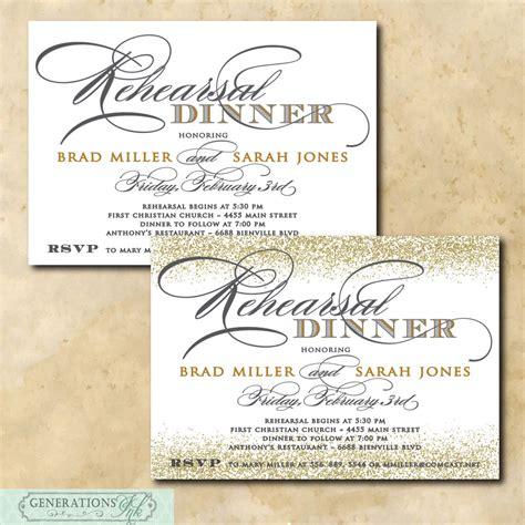 Gold Rehearsal Dinner Invitation printable/Digital File