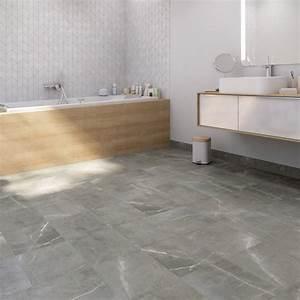 Carrelage Au Sol : carrelage sol et mur gris effet marbre rimini x ~ Nature-et-papiers.com Idées de Décoration