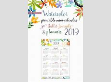 2019 Mini Calendar Printable Watercolor Design Press