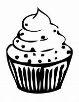 Cupcake Outline Clipart Drawing Birthday Coloring Pages Cake Cute Cup Ice Cliparts Cream Clip Printable Library Silhouette Cartoon Cupcakes Clipartion sketch template