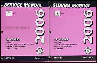 service manuals schematics 2006 pontiac vibe regenerative braking 2006 pontiac vibe repair shop manual original 2 volume set