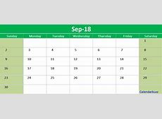 September 2018 Calendar Printable Templates CalendarBuzz