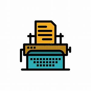 Office Typewriter Icon  Flat Style Stock Vector