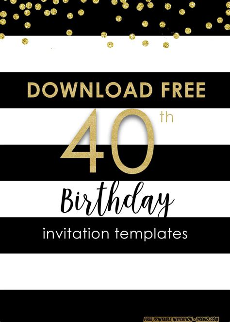 FREE Printable 40th Invitation Templates UPDATED 40th