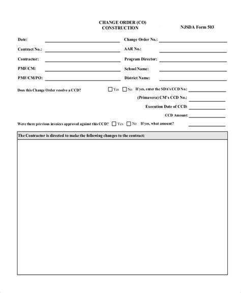 sample change order forms   ms word excel
