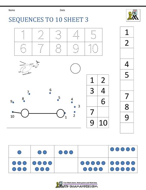 preschool number worksheets sequencing