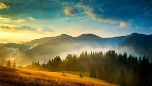 Ukraine, Carpathians, forest, mountains, fog, clouds, sun ...