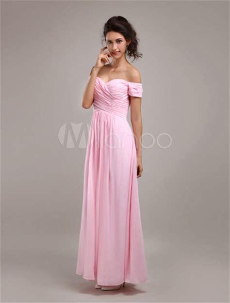 glamorous pink chiffon   maxi bridesmaid dress