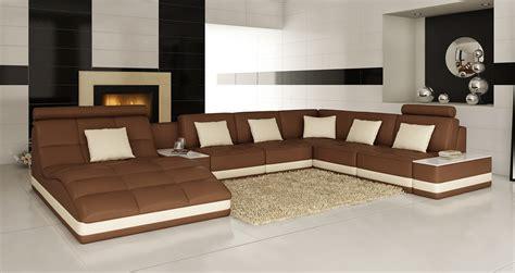 divani casa  modern brown  white bonded leather