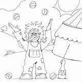 Clown Colouring Juggling Pages Coloring Happy Circus Clowns Juggler Print sketch template