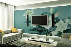 Interior Design Wall Painting Plans Blue TV Wall With Chinese Painting