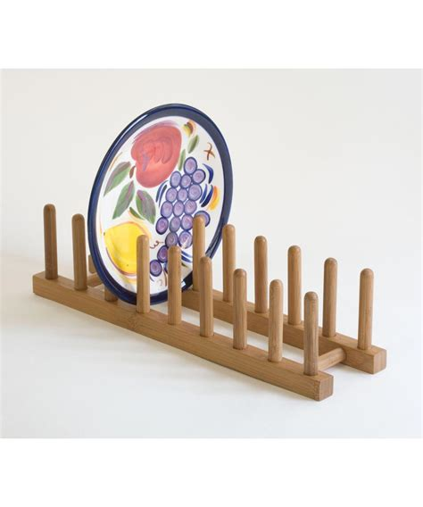 simply organized bamboo plate pot lid rack