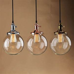 Pendant lighting bulbs : Quot globe shade antique vintage industri pendant light