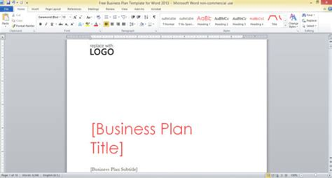 Free business plan template word doc costumepartyrun free business plan template for word 2013 accmission Gallery