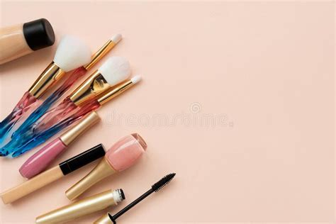 face care products  pink  view  border stock photo