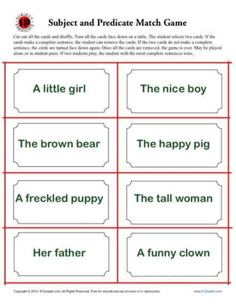 subject and predicate match parts of speech