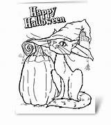 Cards Halloween Greeting Coloring Card Gnome sketch template