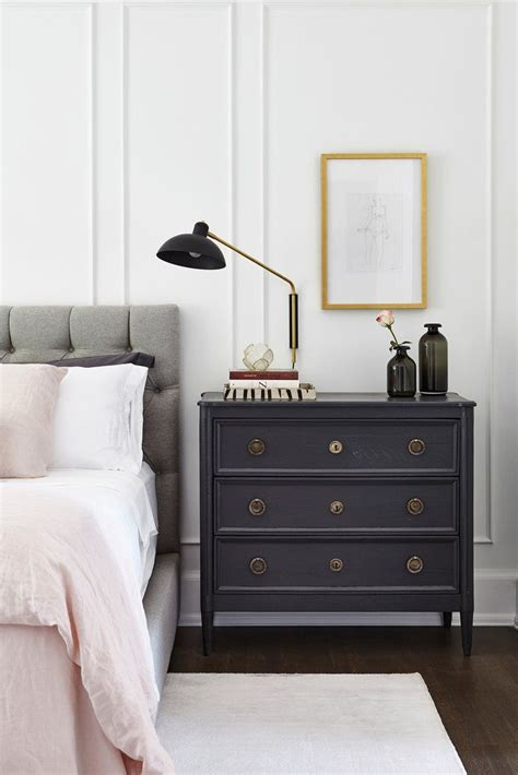 bedroom   grey linen tufted headboard pink sheets