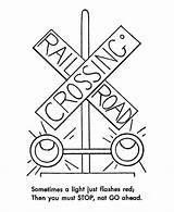 Train Coloring Railroad Pages Safety Trains Sheets Traffic Track Signs Sign Drawing Lights Crossing Signal Rail Light Go Tracks Printable sketch template