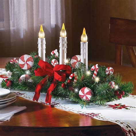 candles for christmas table candy cane flameless candle holiday centerpiece christmas