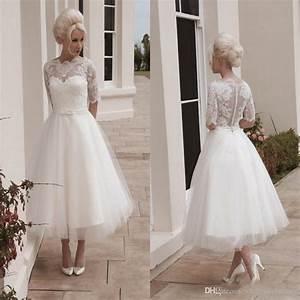 Vintage Short Wedding Dresses Ball Gown Tea Length 1/2 ...