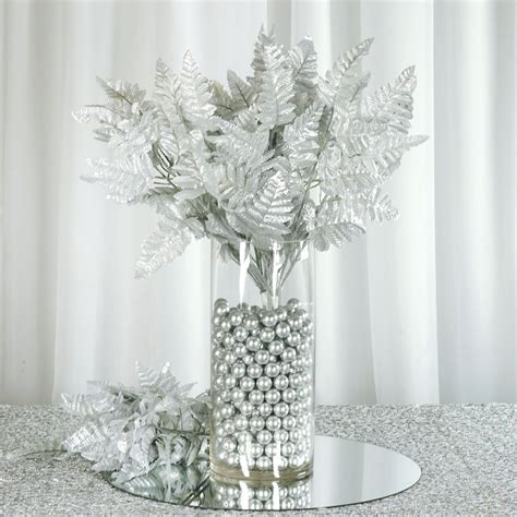 12 Bushes Leather Fern Greenery For Wedding Centerpieces