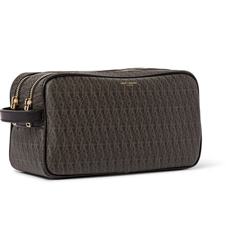 saint laurent toile monogramme leather trimmed coated canvas wash bag  brown  men lyst