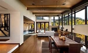 30 idees de decoration de salon avec un style rustique With kitchen cabinet trends 2018 combined with papier peints tendance