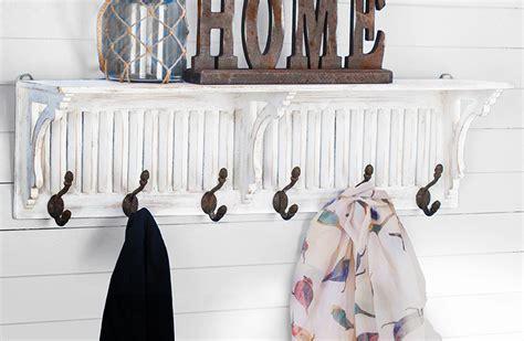 white weathered wall shelf  hooks cottage chic
