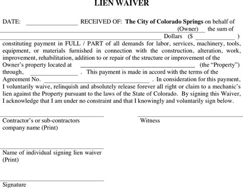 Mechanics Lien Waiver Form For Al