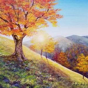 autumn, landscape, acrylic, painting, tutorial, by, angela