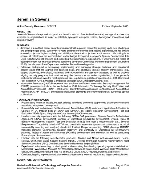 Sle Cover Letter Information Technology by Information Technology Resume For Federal Federal