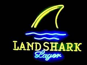 New Landshark Lager Grill Jimmy Buffetts Real Neon Glass