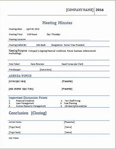 meeting minutes template for ms word word document templates With recording meeting minutes template