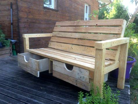 wood pallet outdoor bench   drawers  pallets
