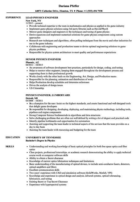 physics engineer resume sles velvet