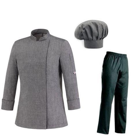 tenu de cuisine tenue de cuisine femme grise veste pantalon toque