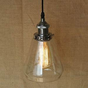 Loft industrial hanging clear glass shade pendant lamp