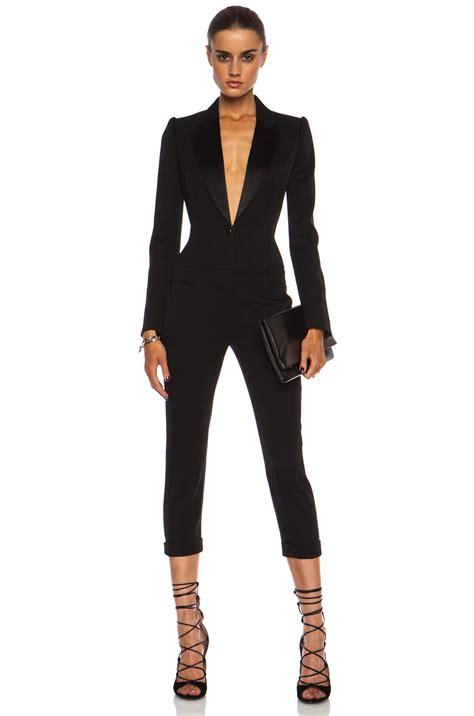 tuxedo jumpsuit mcqueen cigarette tuxedo wool jumpsuit in