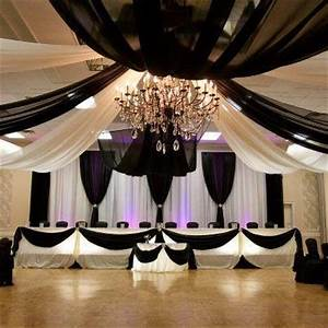 black and white fabric draped ceiling gorgeous With black ceiling drapes