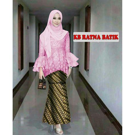 Kebaya Pengantin Wanita Duyung jual setelan kebaya modern dusty brukat organza rok batik