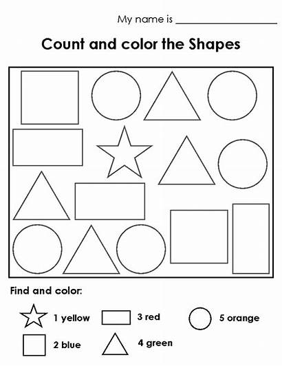 Shapes Worksheet Worksheets Coloring Counting Colouring Pages