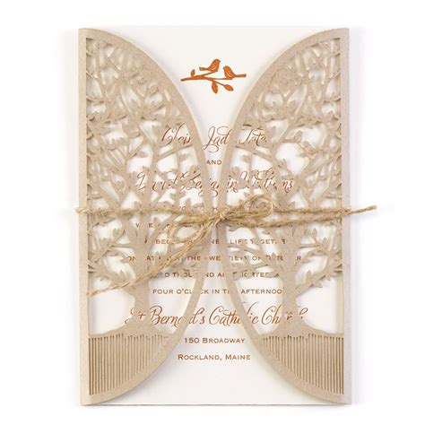 grove laser cut invitation invitations  dawn